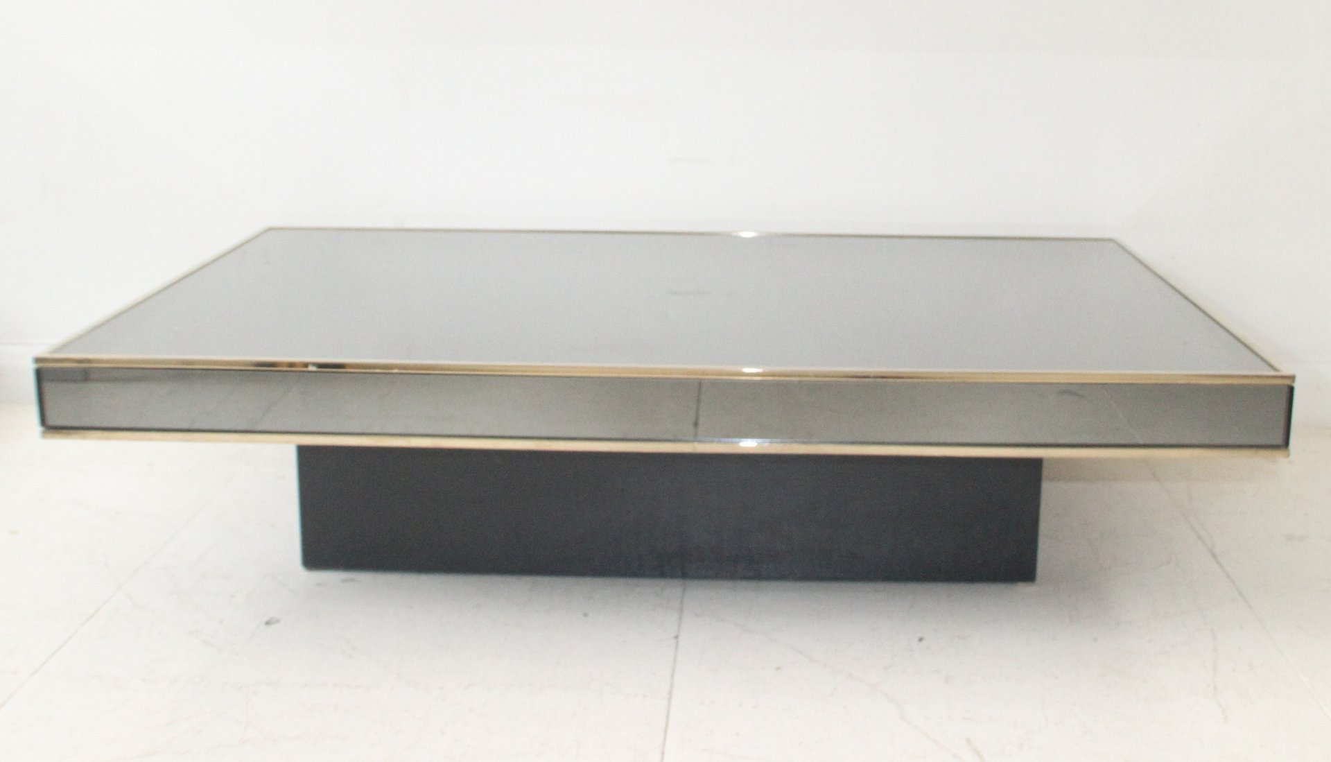 Floating Coffee Table Grey Mirrored Glass Floating Coffee Table By Willy Rizzo For Cidue