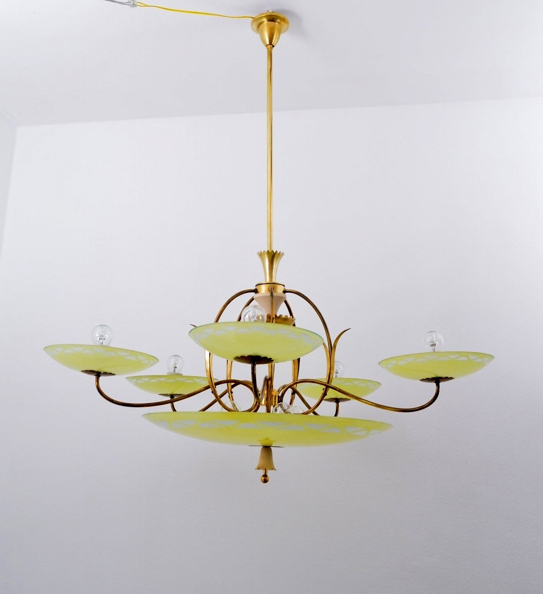 Large Vintage Italian Art Deco FiveArm Brass Yellow Glass – Brass and Glass Chandelier