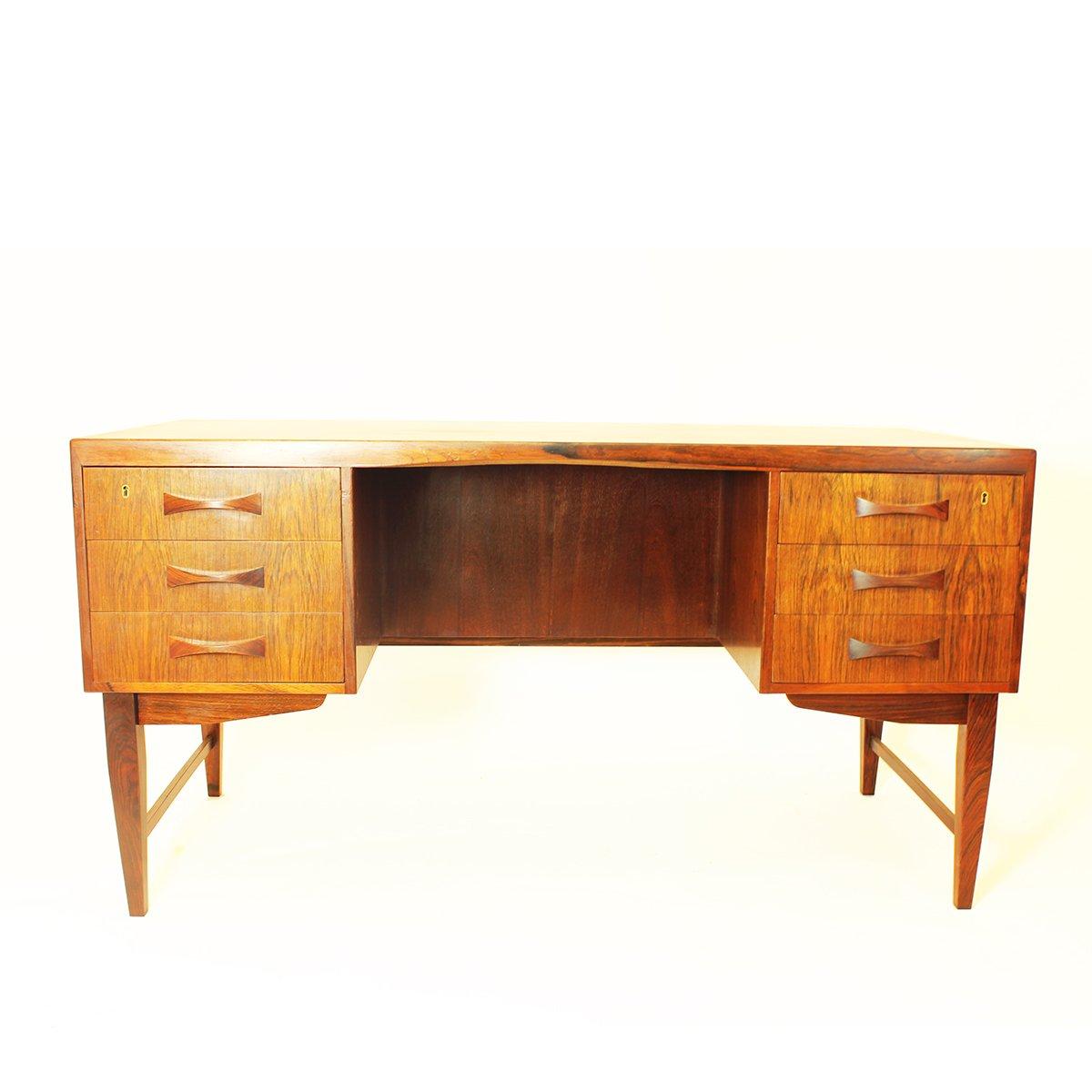 Bureau avec tiroirs et tag res en palissandre danemark - Bureau avec tiroirs ...