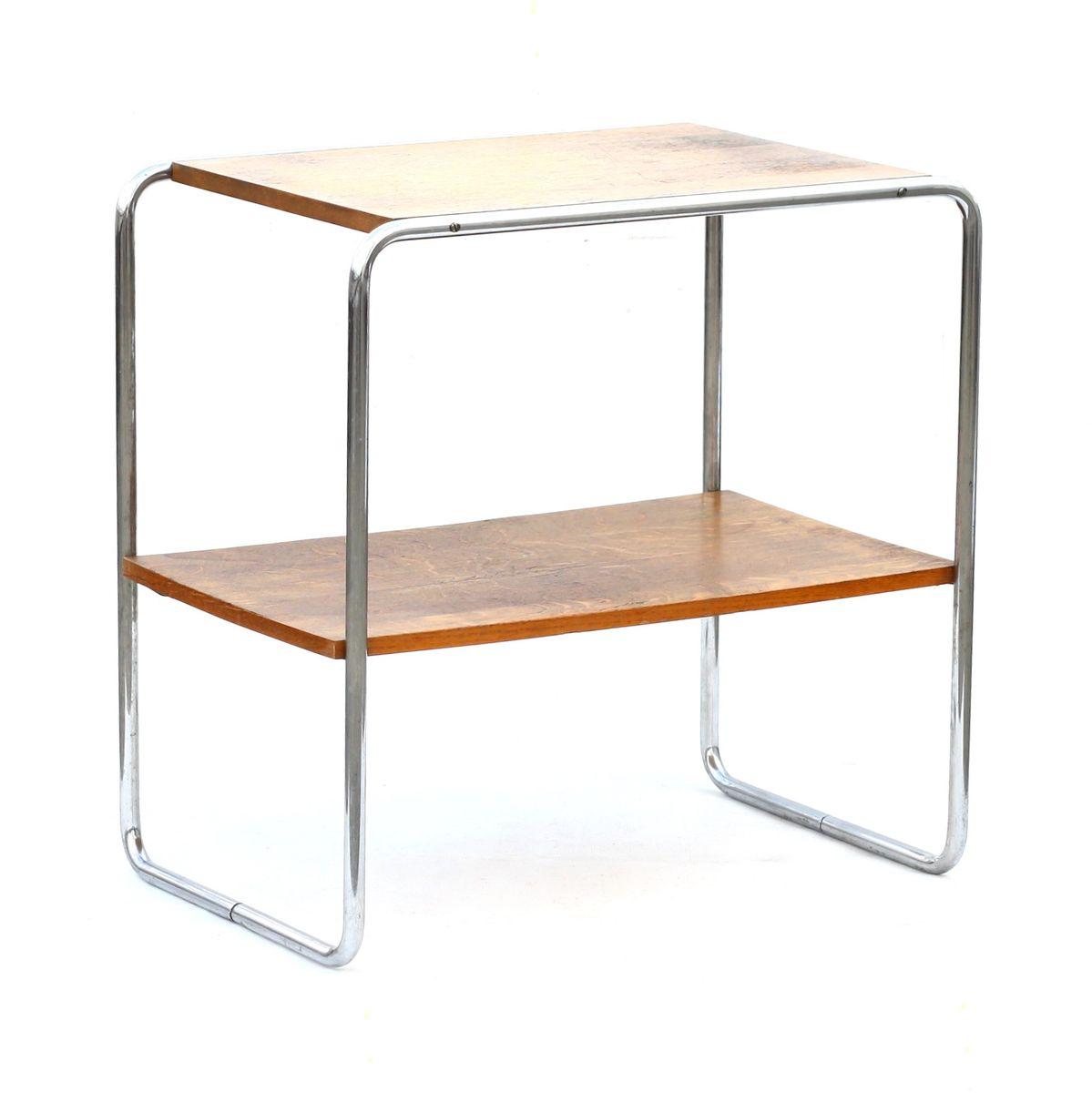 midcentury czech oak  chrome table from kovona for sale at pamono - midcentury czech oak  chrome table from kovona