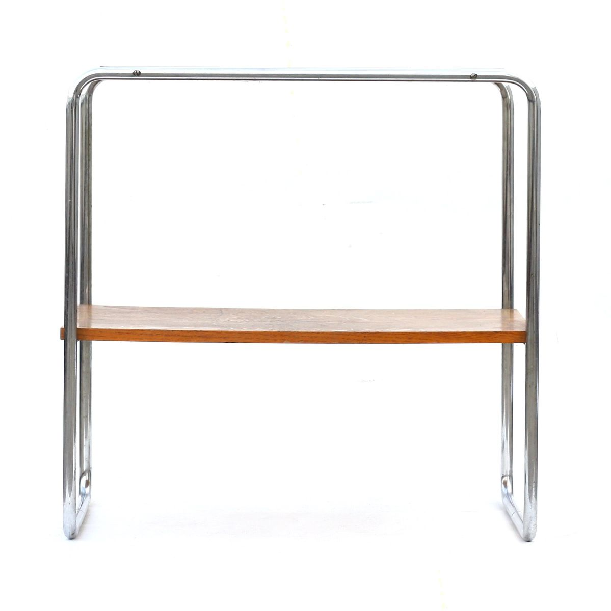 midcentury czech oak  chrome table from kovona for sale at pamono - price per piece