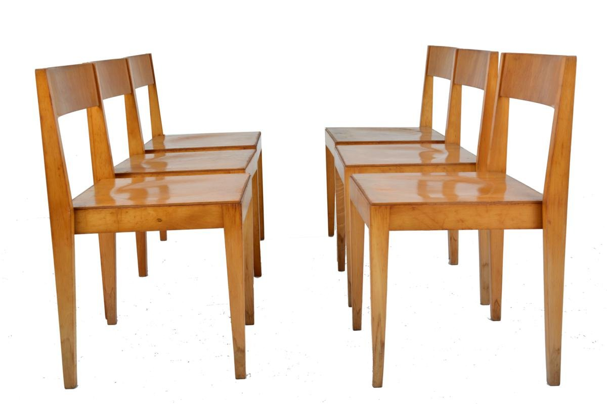 Mid Century Wooden Dining Chairs from Lbke 1960s Set of 6 for