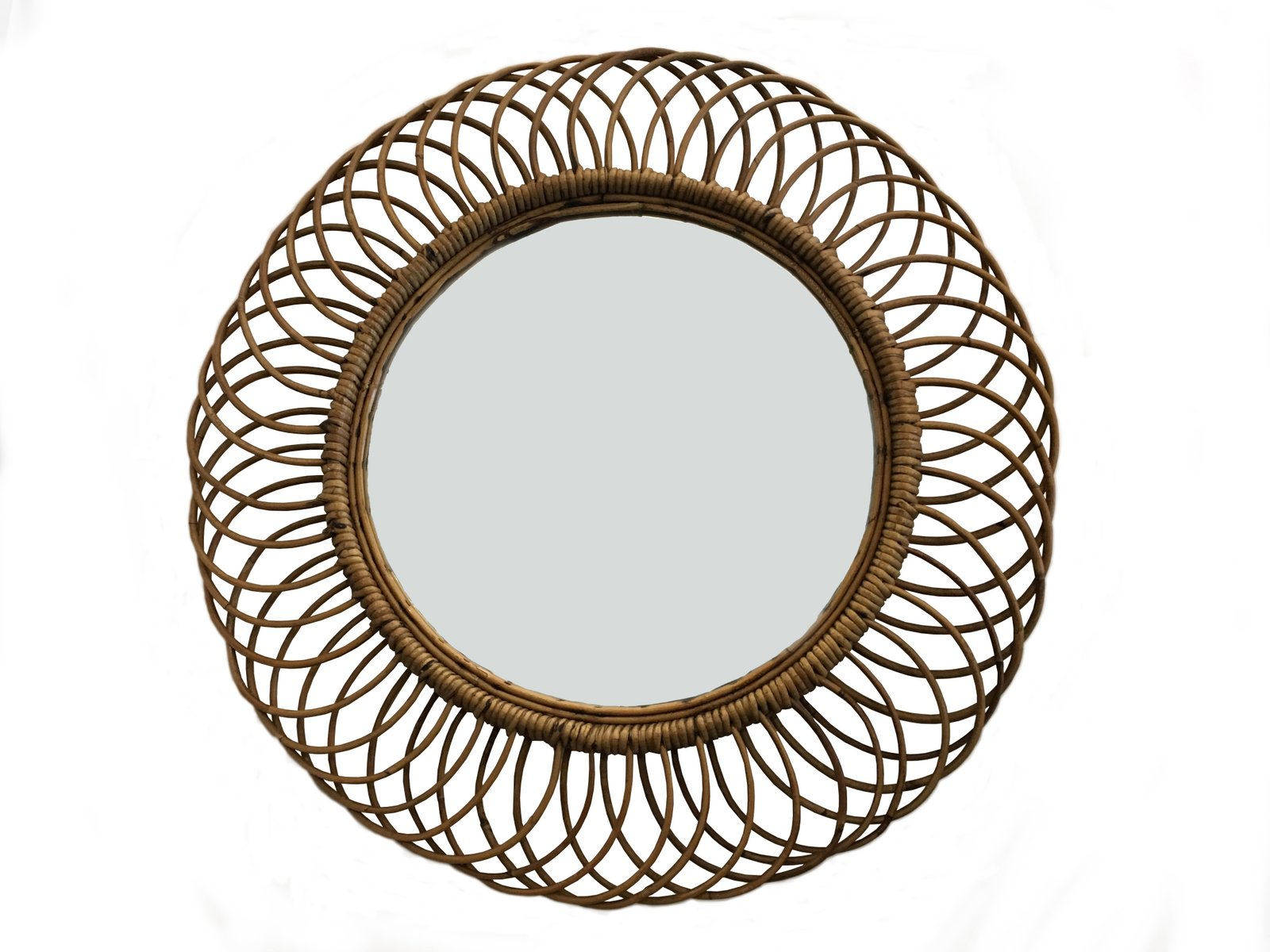 Rattan Wall Decor Round : Vintage wicker round wall mirror s for sale at pamono