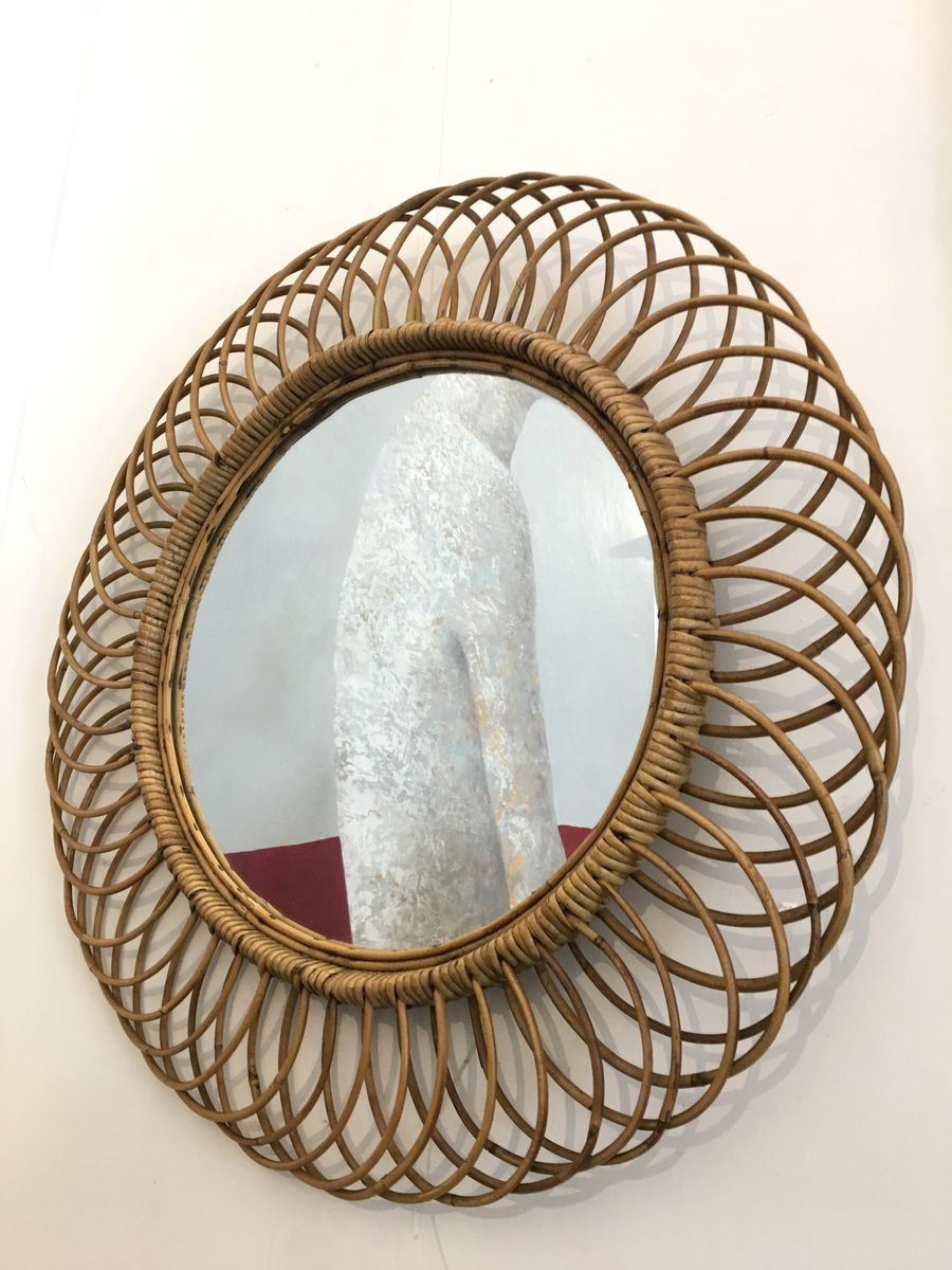 Round Wall Mirrors vintage wicker round wall mirror, 1960s for sale at pamono