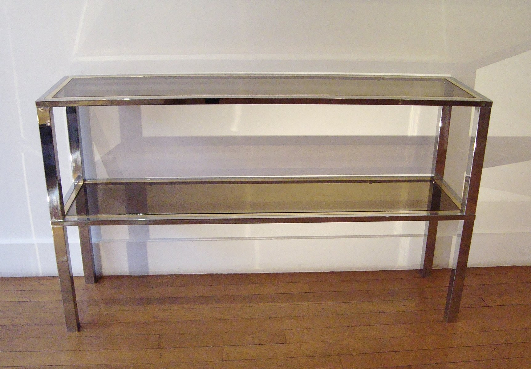 Mid Century Italian Rectangular Brass And Glass Console Table By Romeo  Rega, 1970s