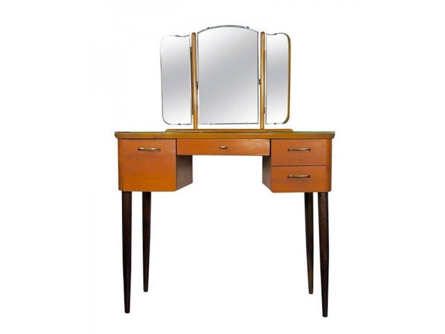 vintage frisiertisch mit triptychon spiegel bei pamono kaufen. Black Bedroom Furniture Sets. Home Design Ideas