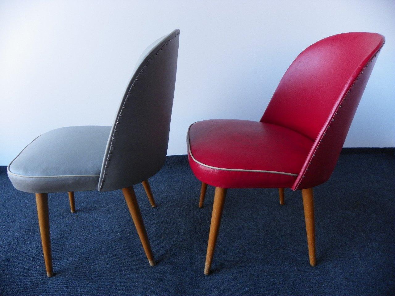 chaises bascule vintage grises et rouges set de 2 en vente sur pamono. Black Bedroom Furniture Sets. Home Design Ideas