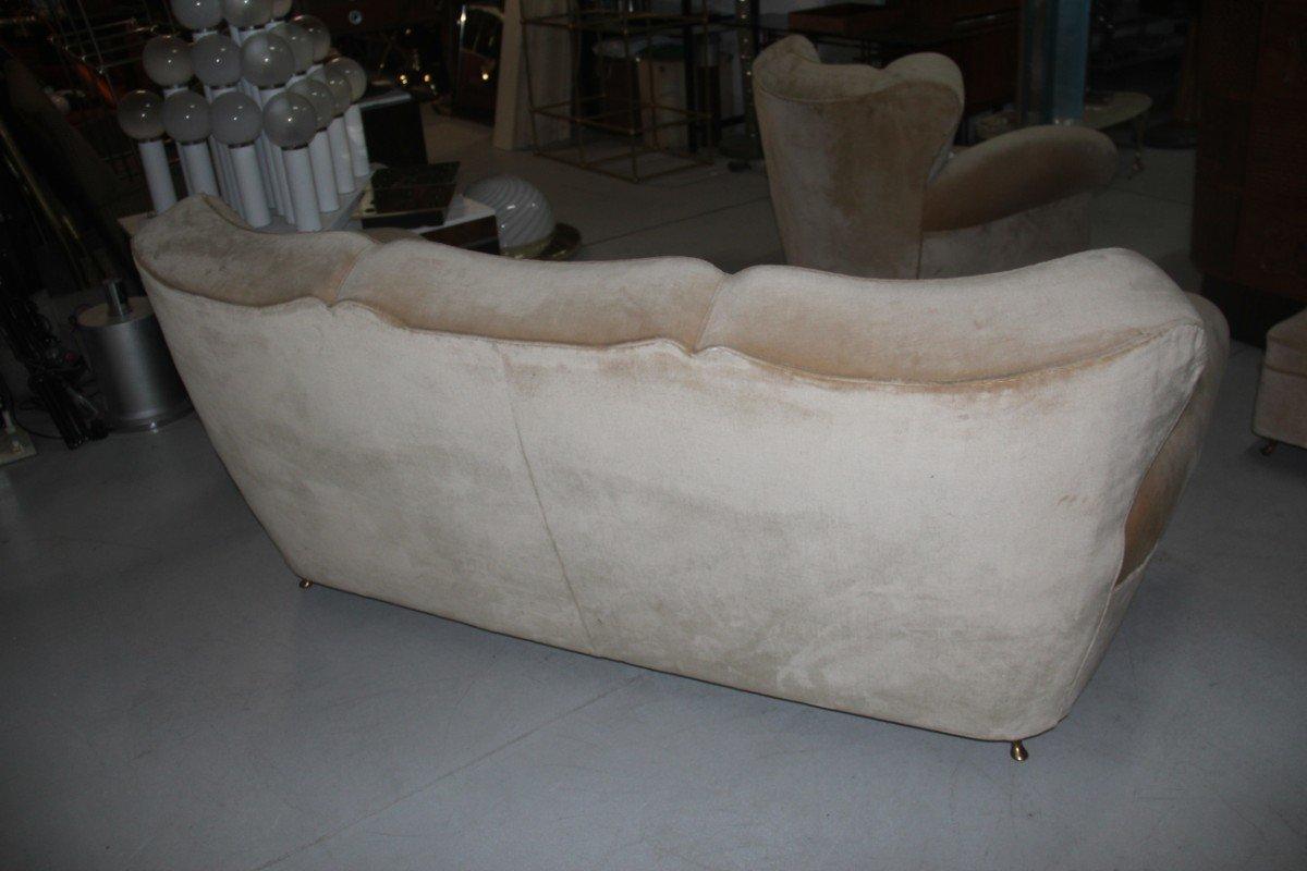 Beige Velvet Sofa With Duck 39 S Beak Feet 1940s For Sale At