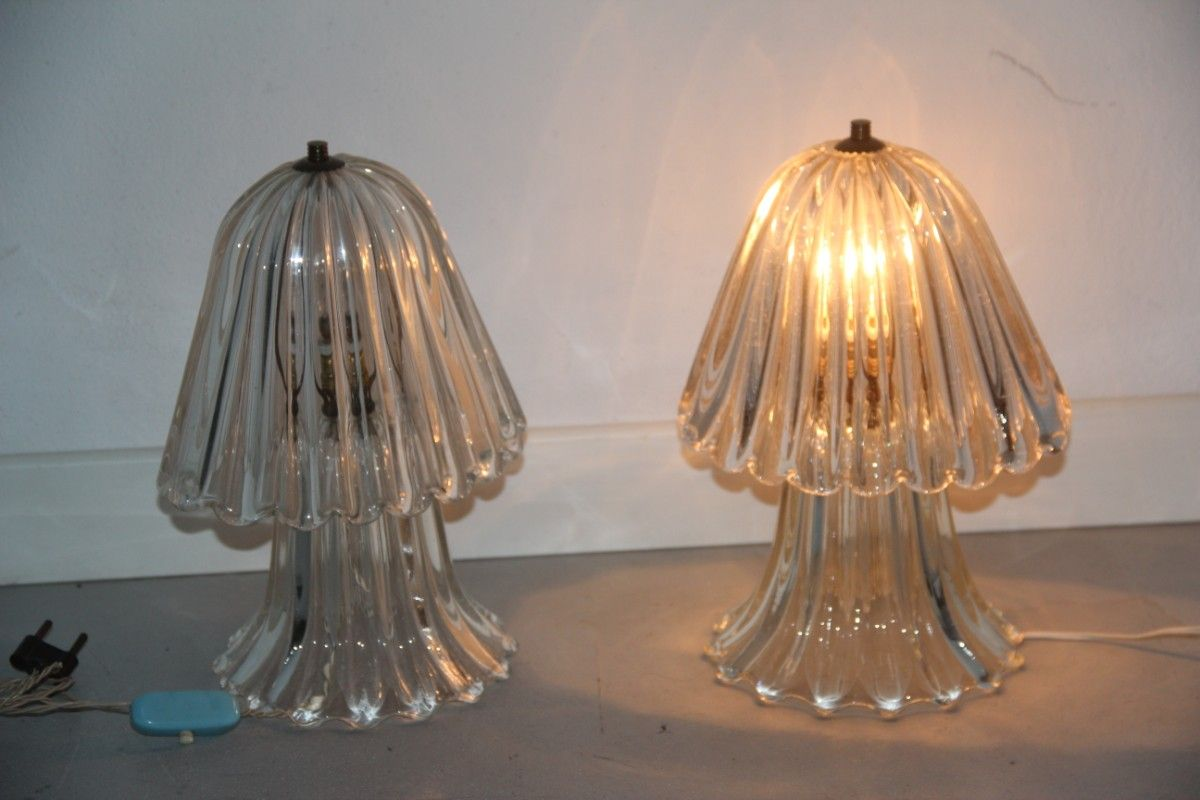 Mushroom Shaped Murano Glass Table Lamps By Ercole Barovier, 1940s, Set Of 2