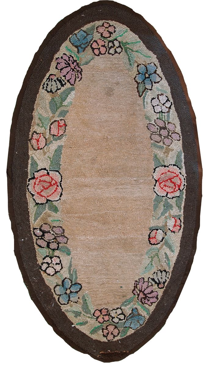 Antique American Handmade Oval Hooked Rug For Sale At Pamono