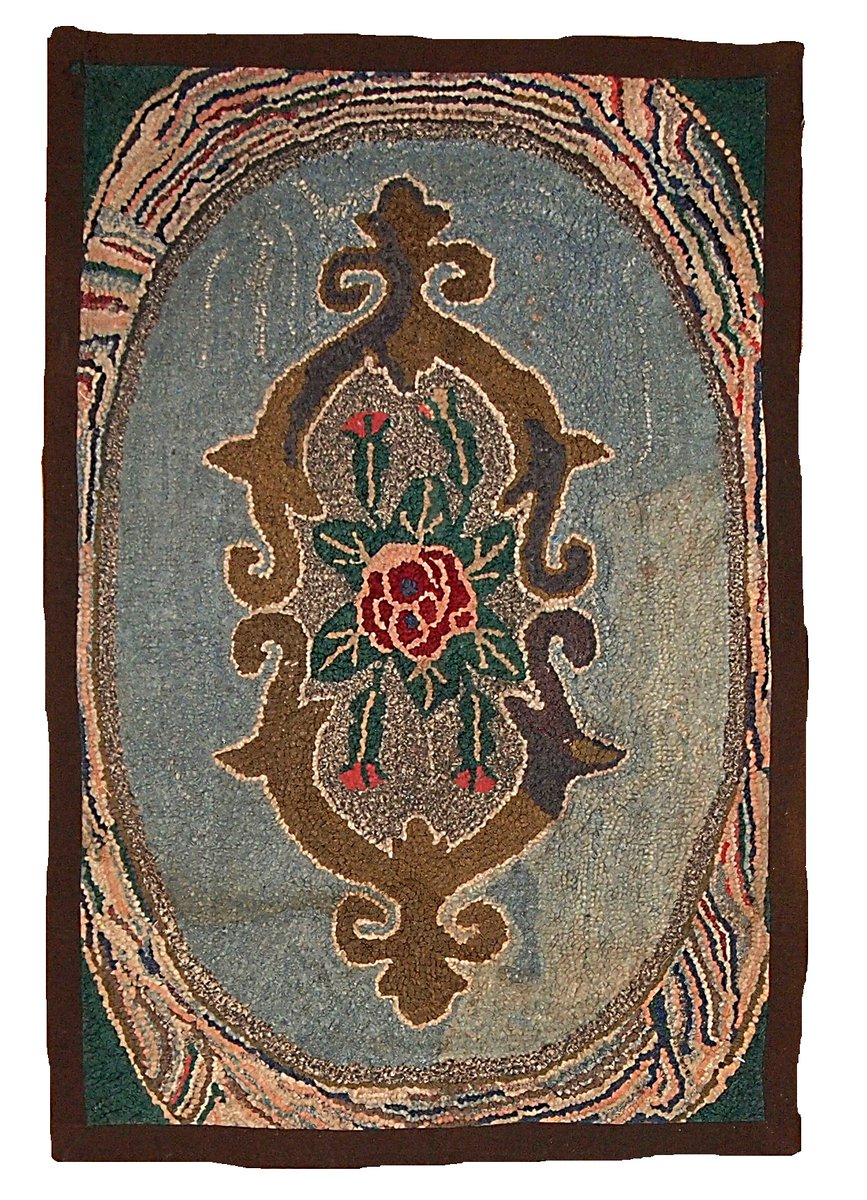 antique american hooked floral rug for sale at pamono. Black Bedroom Furniture Sets. Home Design Ideas