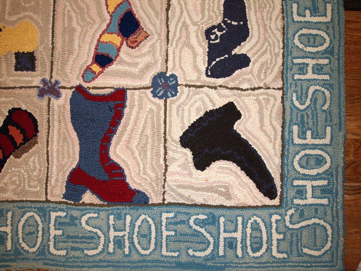 Shoe Rug Vintage American Handmade Hooked Shoe Rug 1960s For Sale At Pamono
