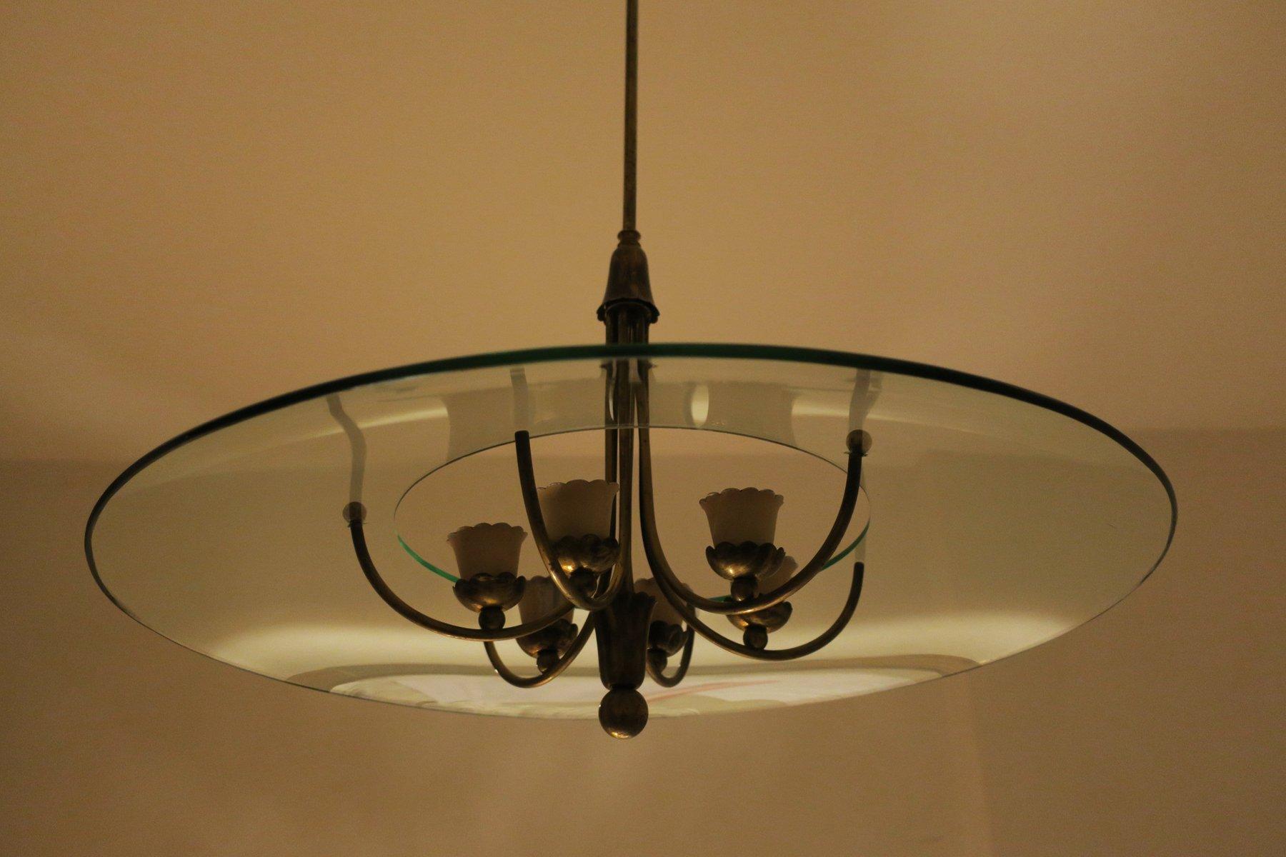 chandelier vintage en laiton verre italie 1950s en vente sur pamono. Black Bedroom Furniture Sets. Home Design Ideas