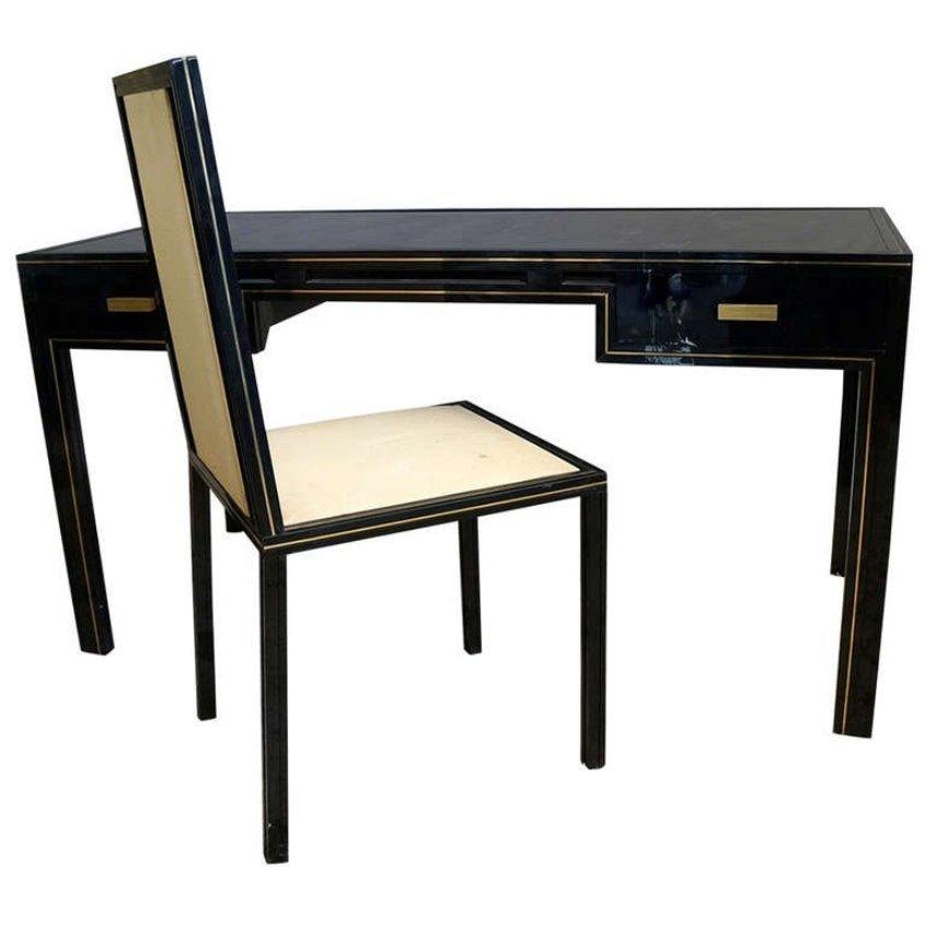 vintage schreibtisch mit passendem stuhl von pierre vandel bei pamono kaufen. Black Bedroom Furniture Sets. Home Design Ideas