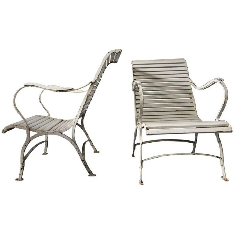 Chaise de jardin vintage en fonte en vente sur pamono for Chaise de jardin en solde