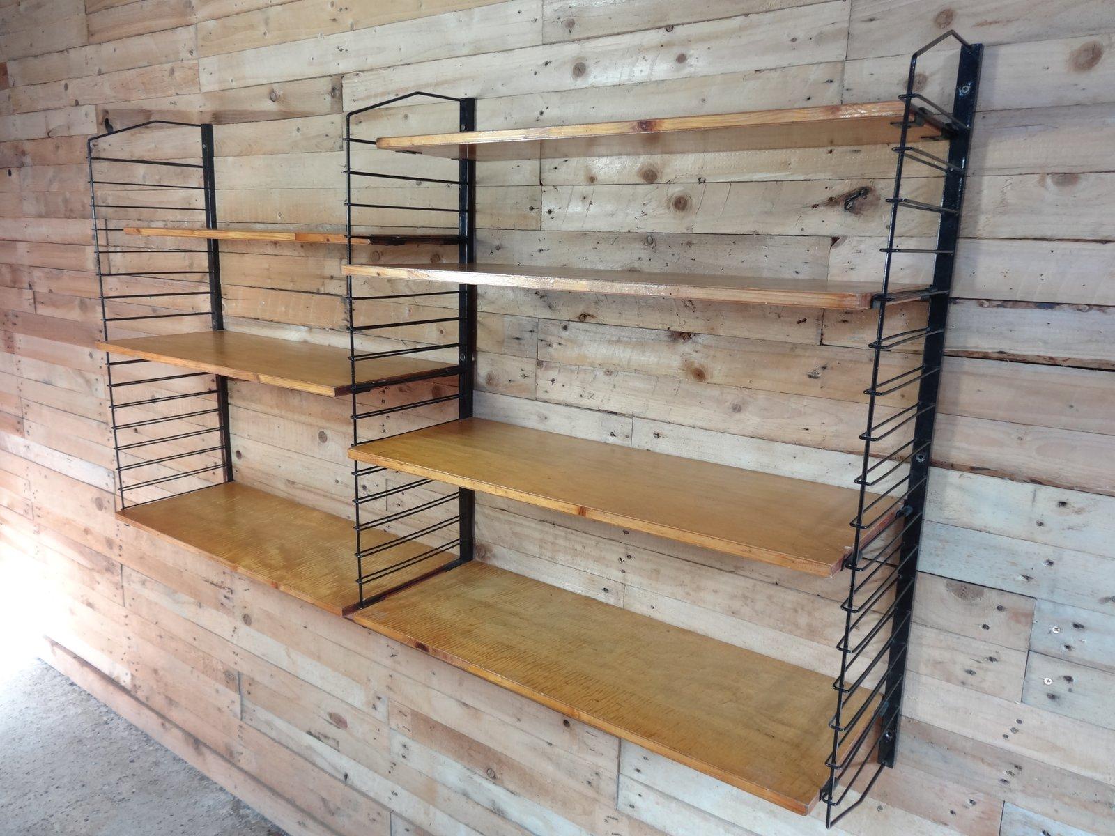 industrielles wandregal aus metall hellem holz 1955 bei pamono kaufen. Black Bedroom Furniture Sets. Home Design Ideas