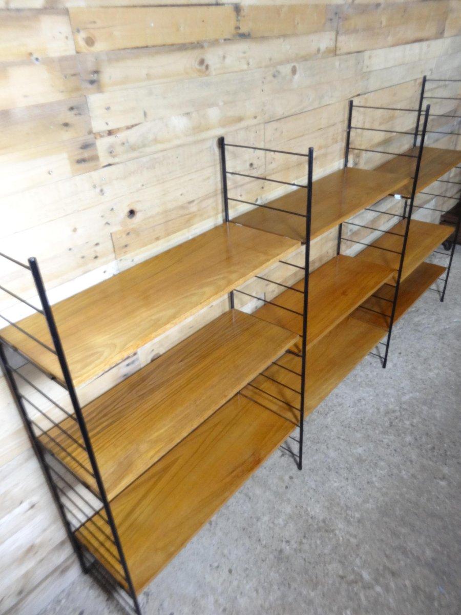 mid century modern large teak metal wall shelving unit. Black Bedroom Furniture Sets. Home Design Ideas