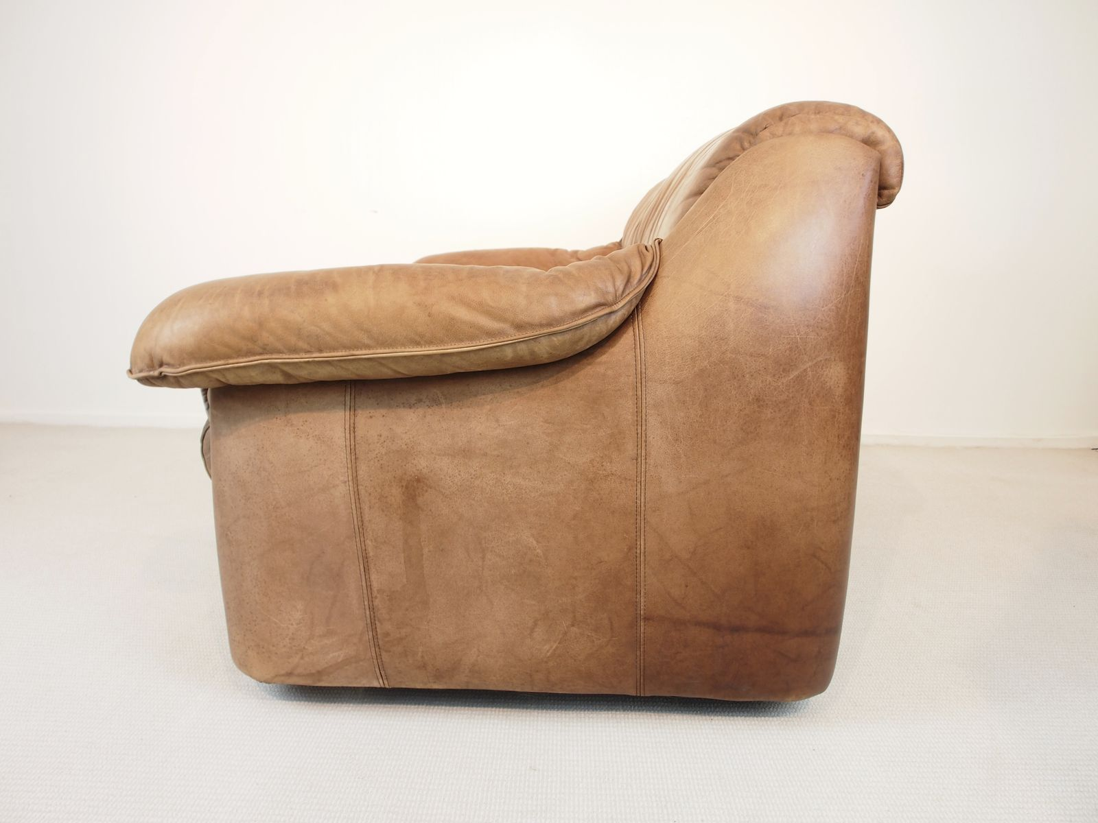 soriana cognac leather sofa by tobia scarpa for cassina