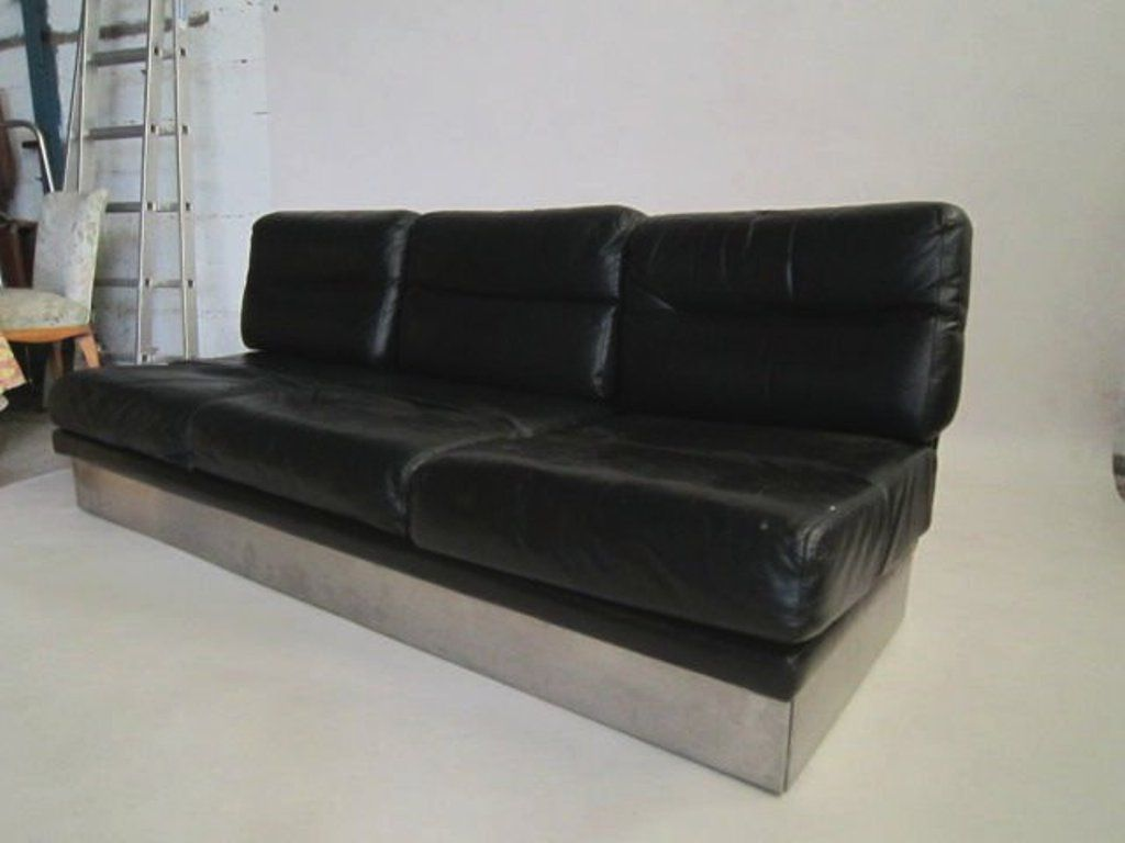 vintage leather sofa and pair of chairs by jacques. Black Bedroom Furniture Sets. Home Design Ideas