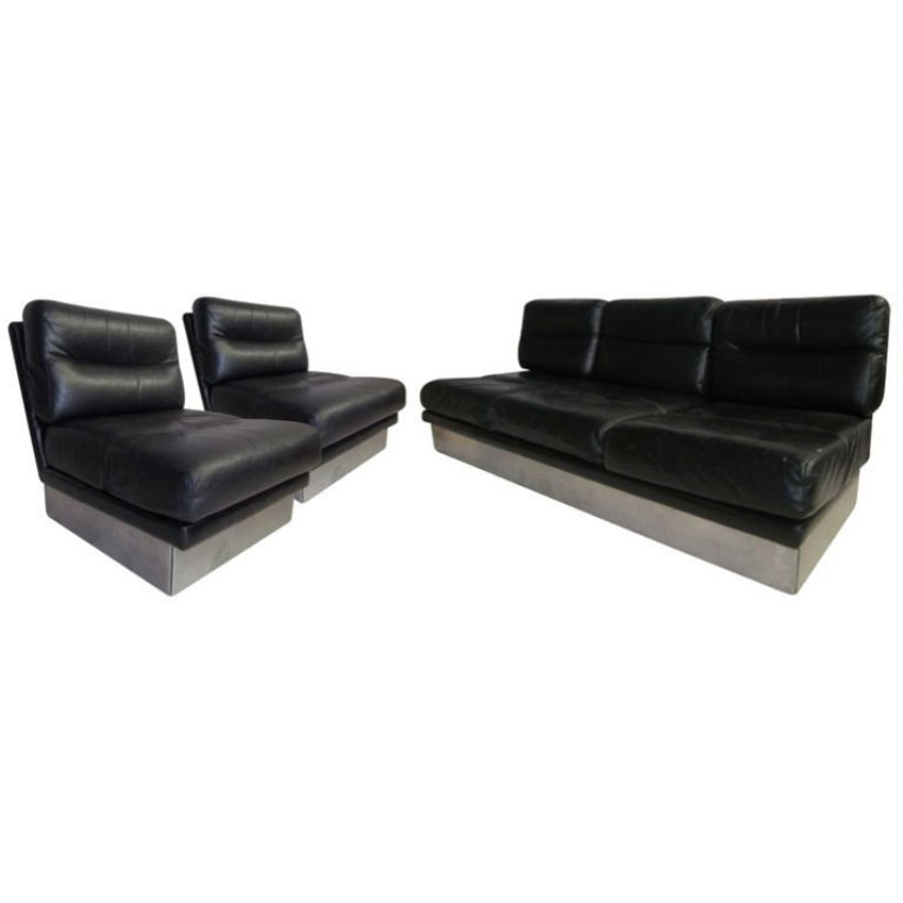 Vintage Leather Sofa and Pair of Chairs by Jacques Charpentier for ...
