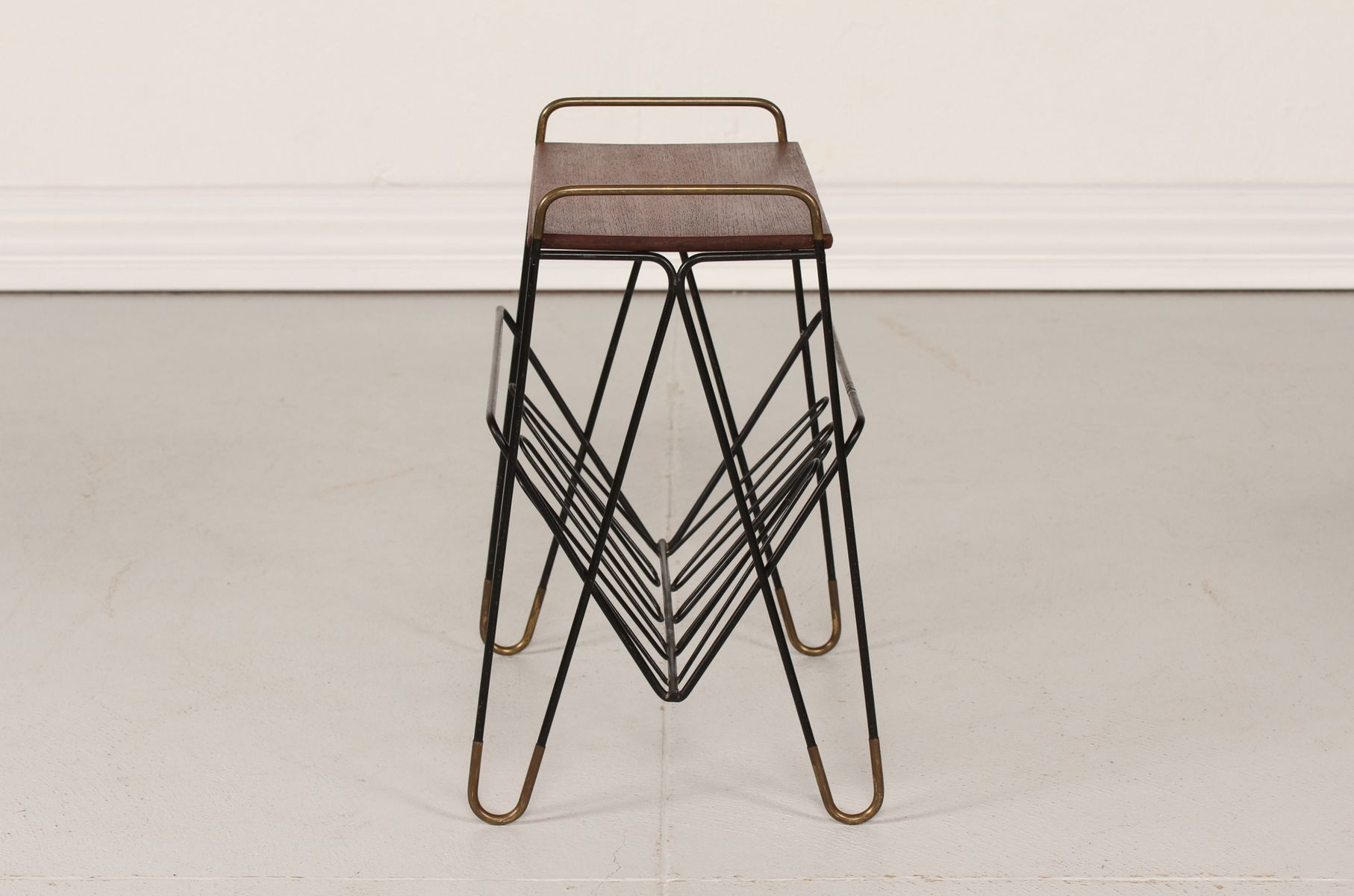 Danish Metal Magazine Rack with Teak Top 1950s for sale at Pamono