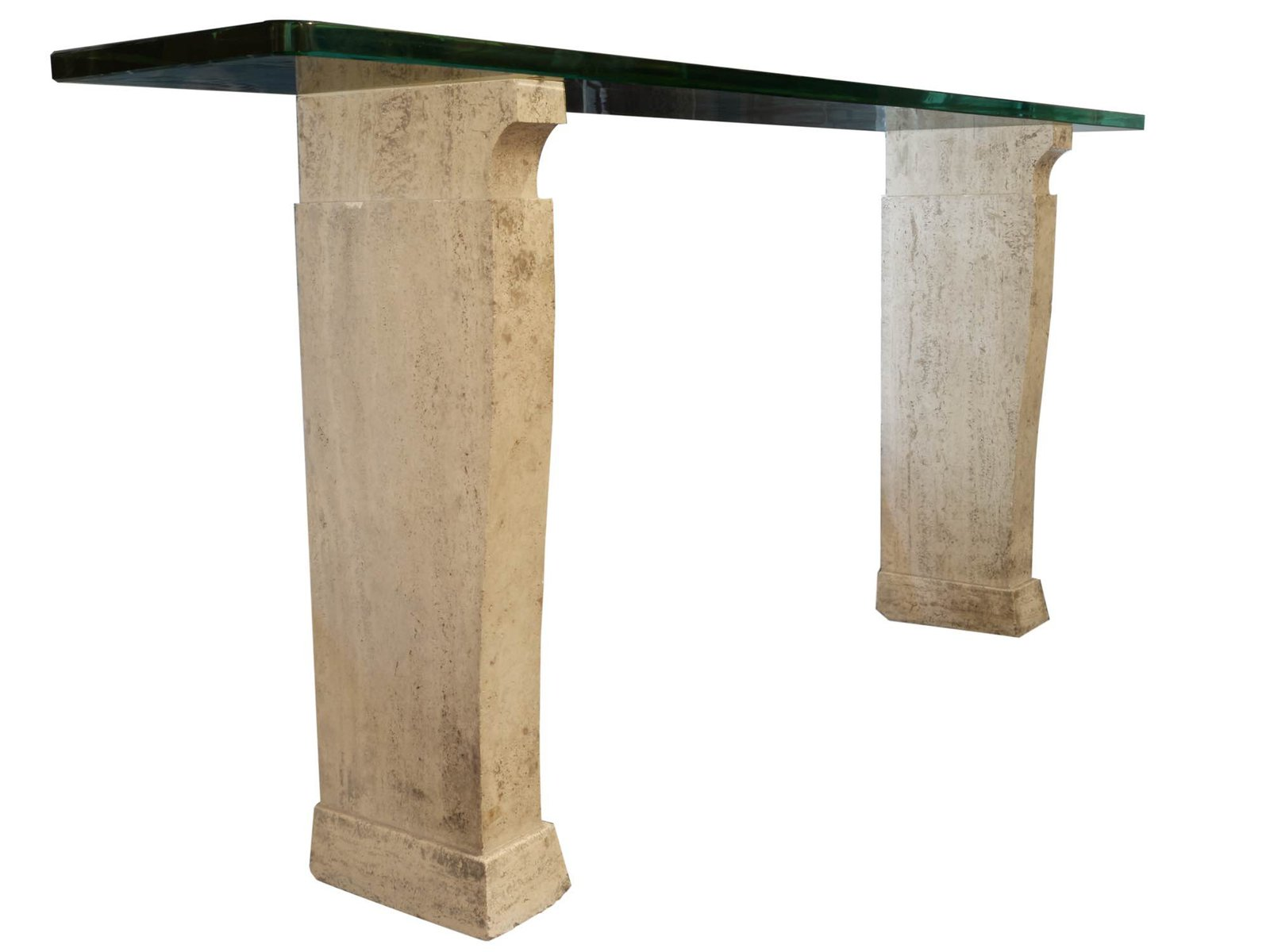 Beautiful Console Table In Travertine And Glass From Fontana Arte, 1930s