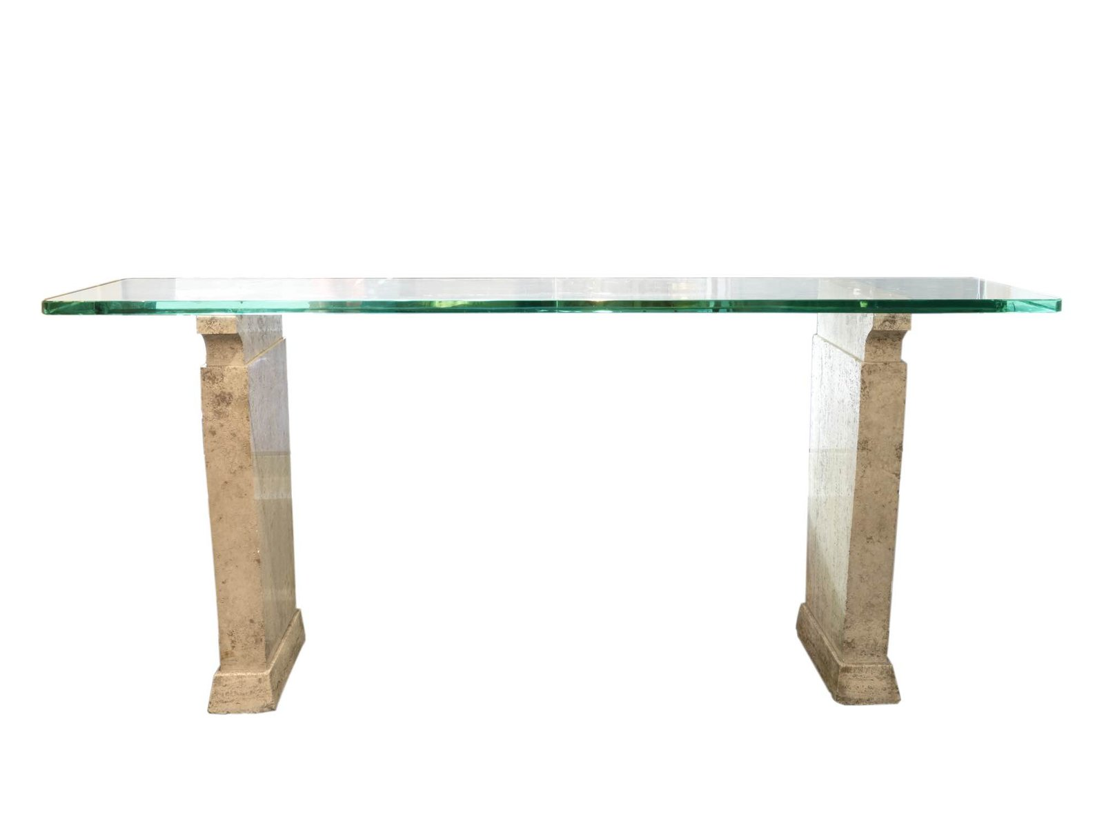 table console en travertine et verre de fontana arte 1930s en vente sur pamono. Black Bedroom Furniture Sets. Home Design Ideas