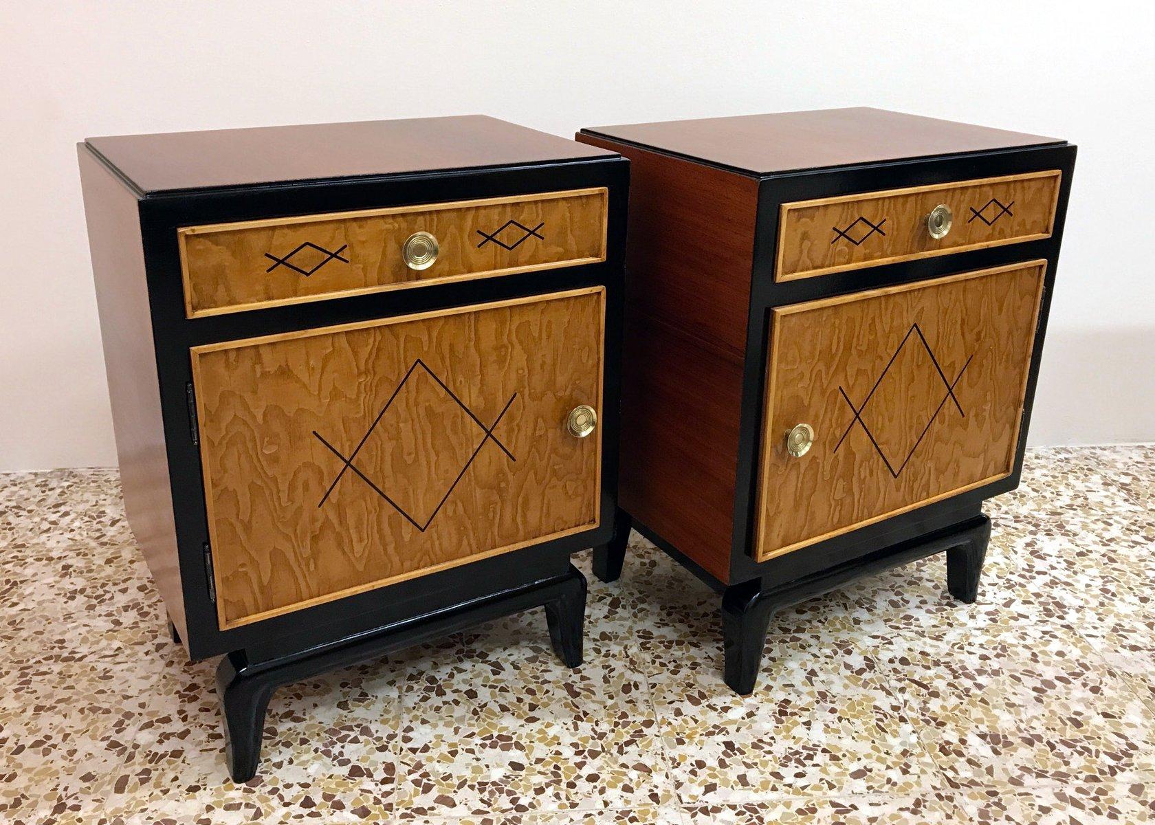 Tables de chevet art d co en palissandre italie 1940s - Table de chevet art deco ...