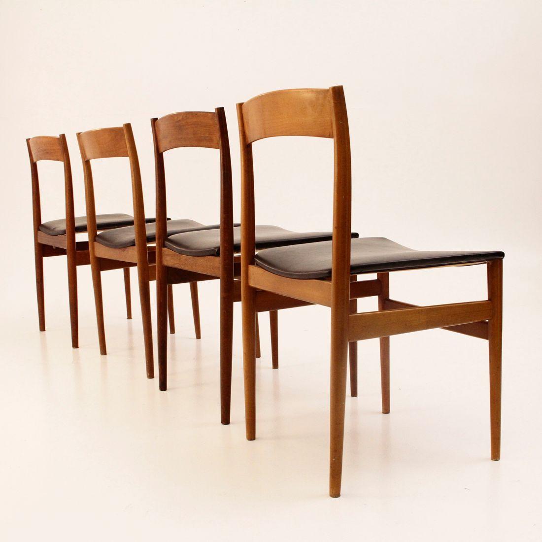 Chaises de salle manger mid century italie 1960s set for Salle a manger annee 1960