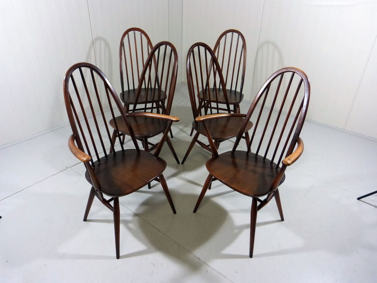 Mid Century Dining Chairs by Ercol Windsor 1950s Set of 6 for