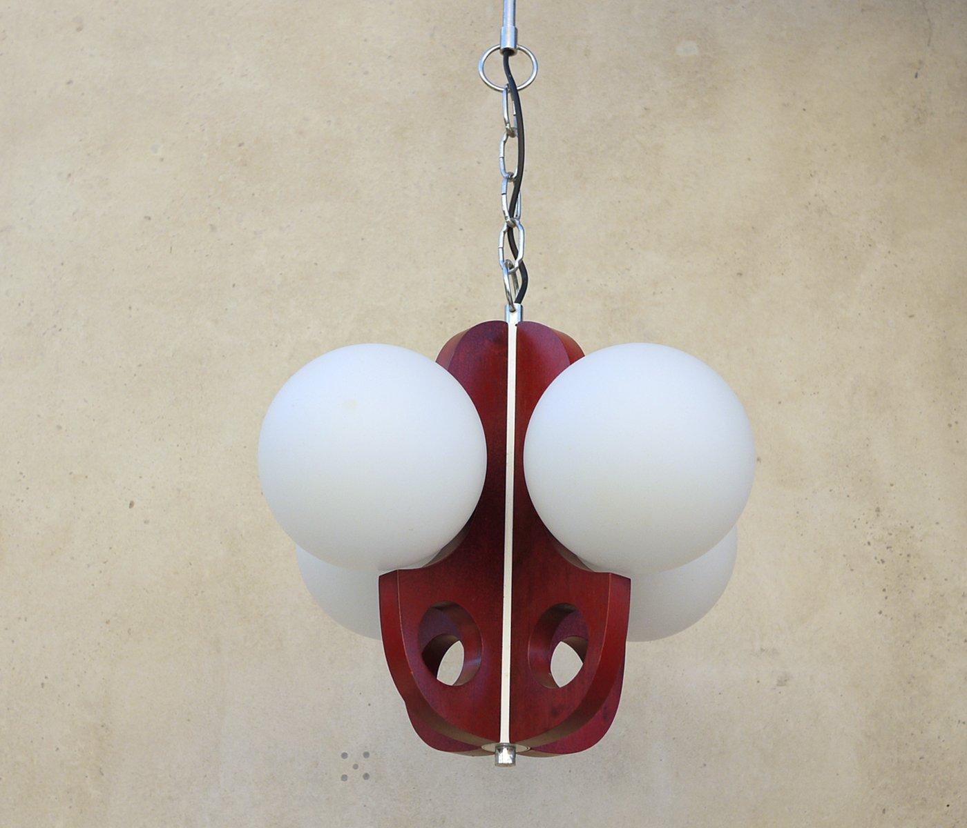 lustre vintage en bois et globes en verre 1977 en vente sur pamono. Black Bedroom Furniture Sets. Home Design Ideas