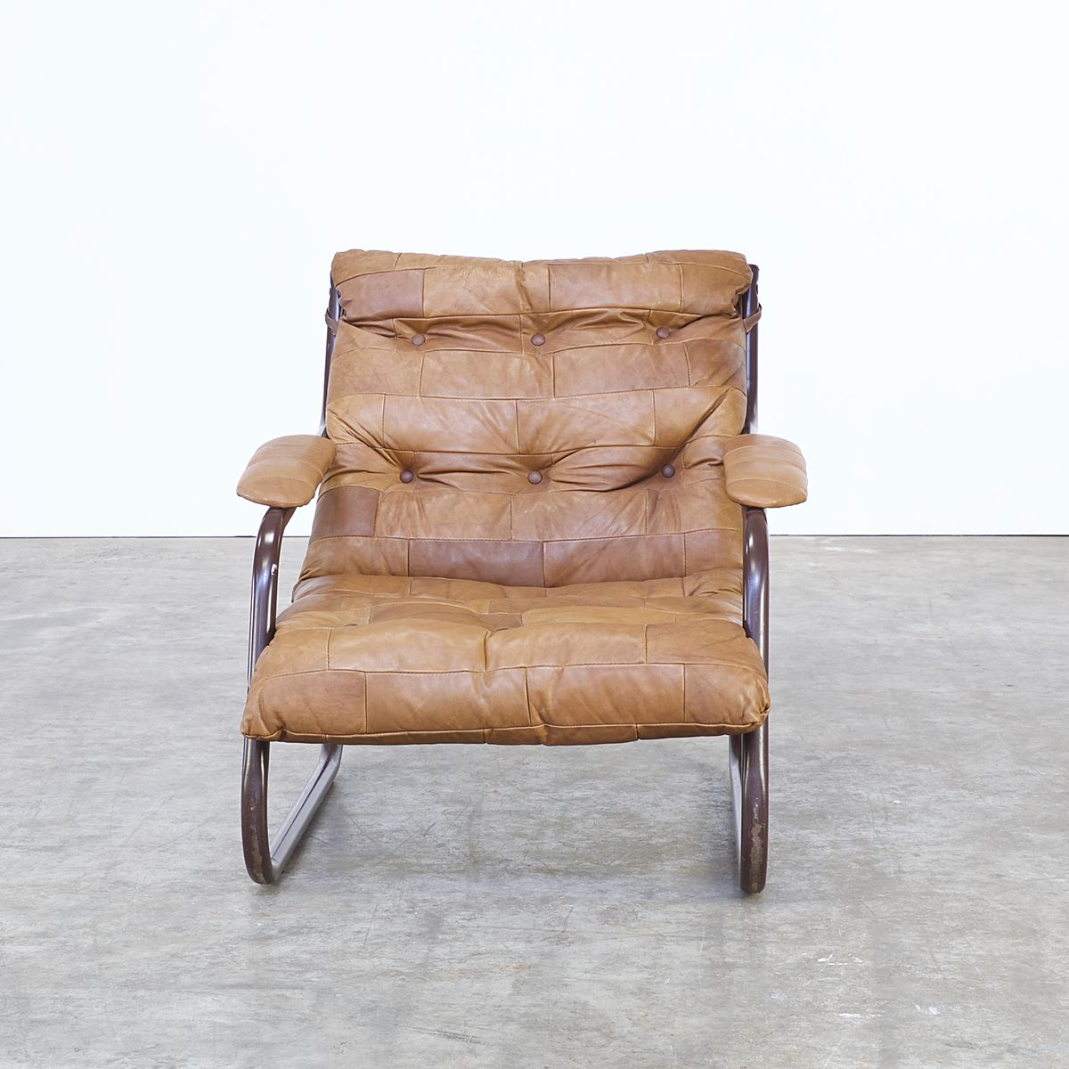 Vintage cognac leather patchwork lounge chair 1970s for sale at pamono - Vintage lyon lounge ...