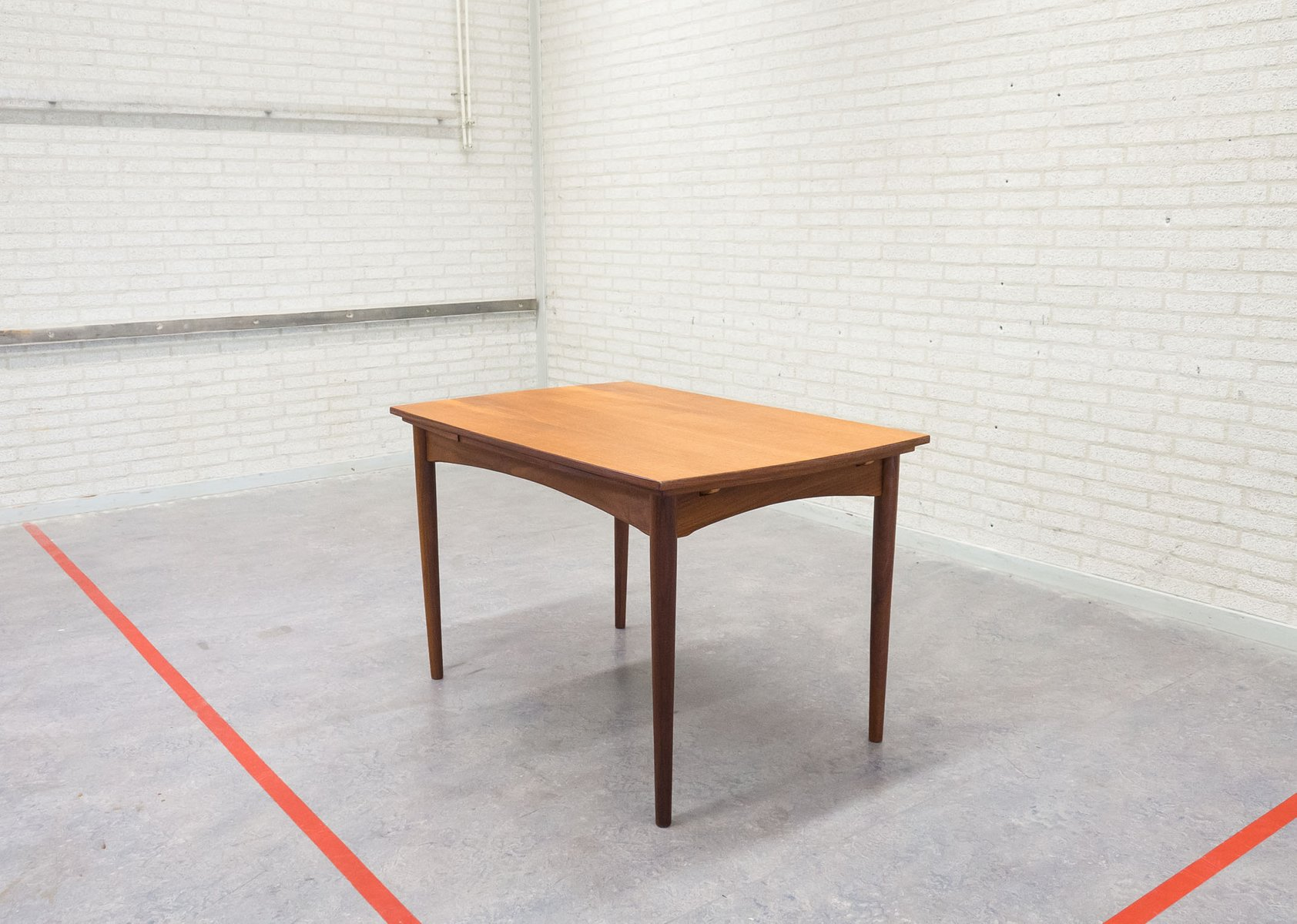 Vintage Extendable Solid And Veneered Teak Dining Table For Sale At Pamono