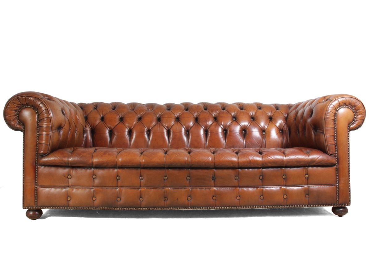 French vintage chesterfield sofa in leather sold home Vintage tan leather sofa