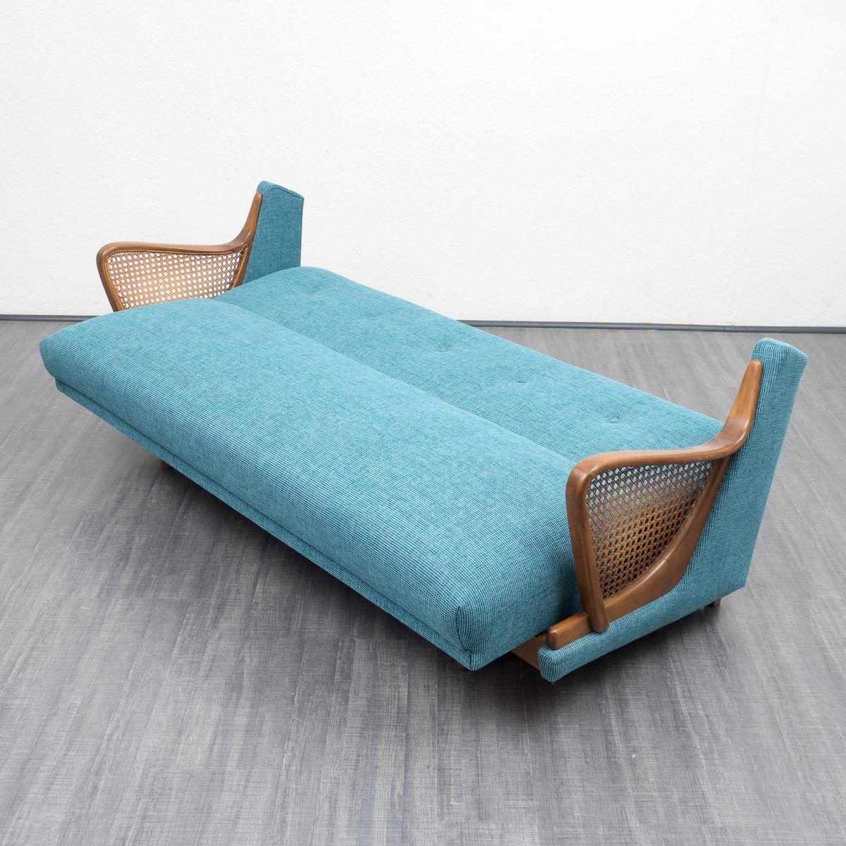 canap bleu p trole 1950s en vente sur pamono. Black Bedroom Furniture Sets. Home Design Ideas