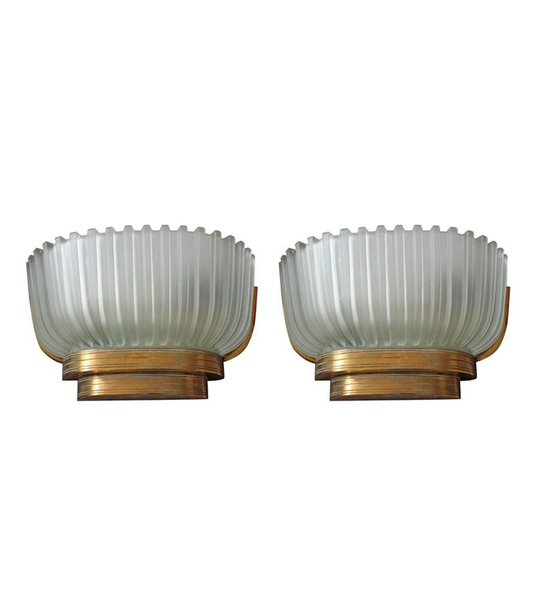 Italian Glass and Brass Wall Lights, 1940s, Set of 2 for sale at Pamono