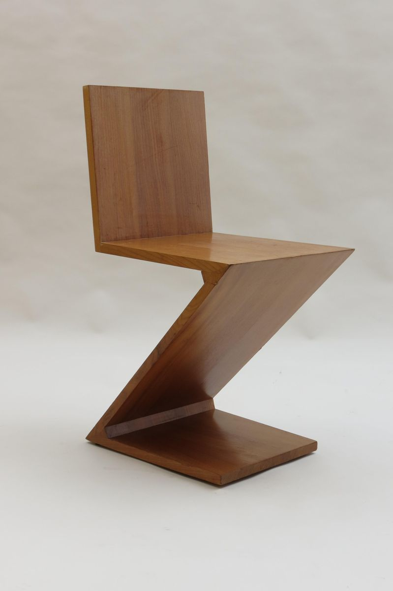 chaise zig zag par gerrard rietveld pour cassina 1970s en. Black Bedroom Furniture Sets. Home Design Ideas