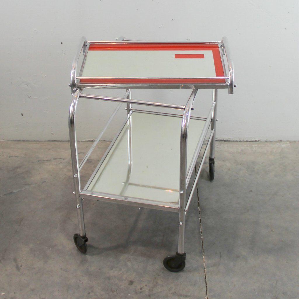 chariot de bar art d co en chrome avec effet miroir en vente sur pamono. Black Bedroom Furniture Sets. Home Design Ideas