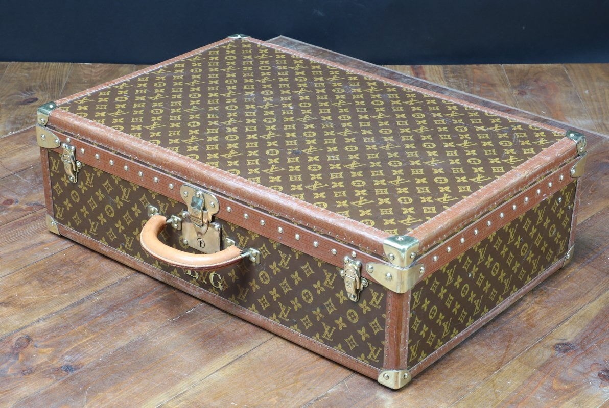 Vintage Leather Suitcase from Louis Vuitton, 1950s for sale at Pamono