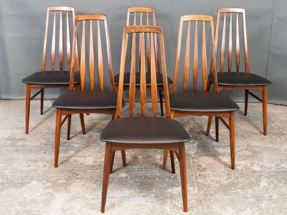 Chaises de salle manger eva en palissandre par niels for Salle a manger annee 1960
