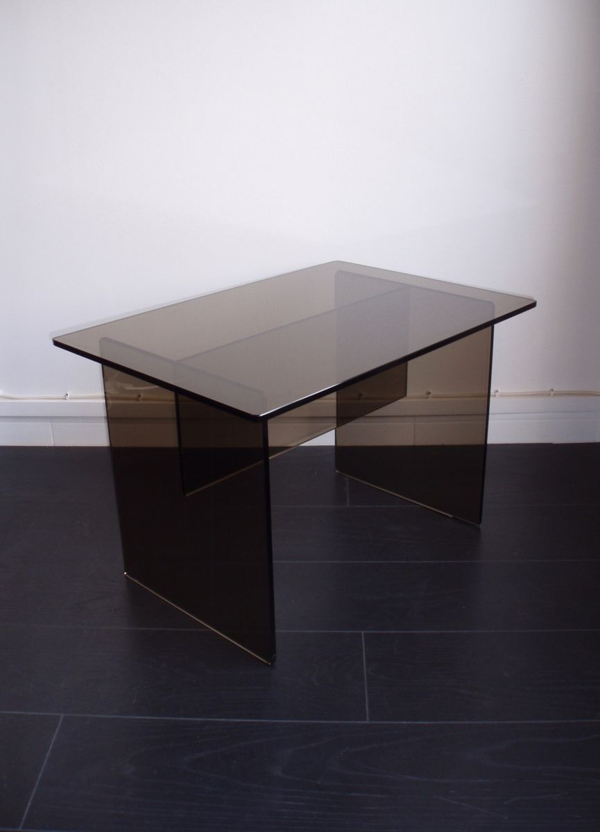 Italian Coffee Table In Smoked Glass 1970s For Sale At Pamono