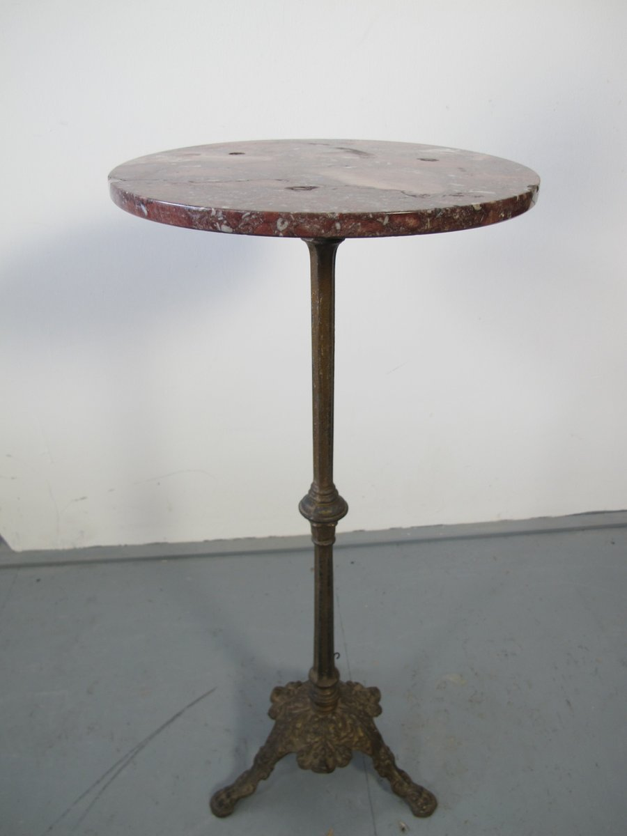 Superb Small Antique French Cast Iron U0026 Marble Table
