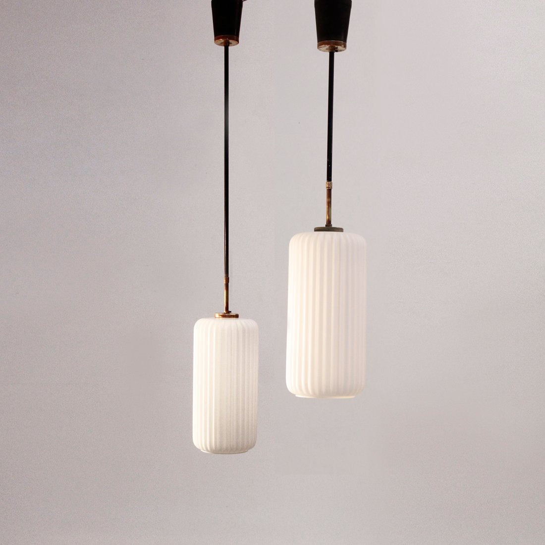 Vintage italian pendant lamps with opaline glass 1950s set of 2 for sale at pamono - Italian pendant lights ...