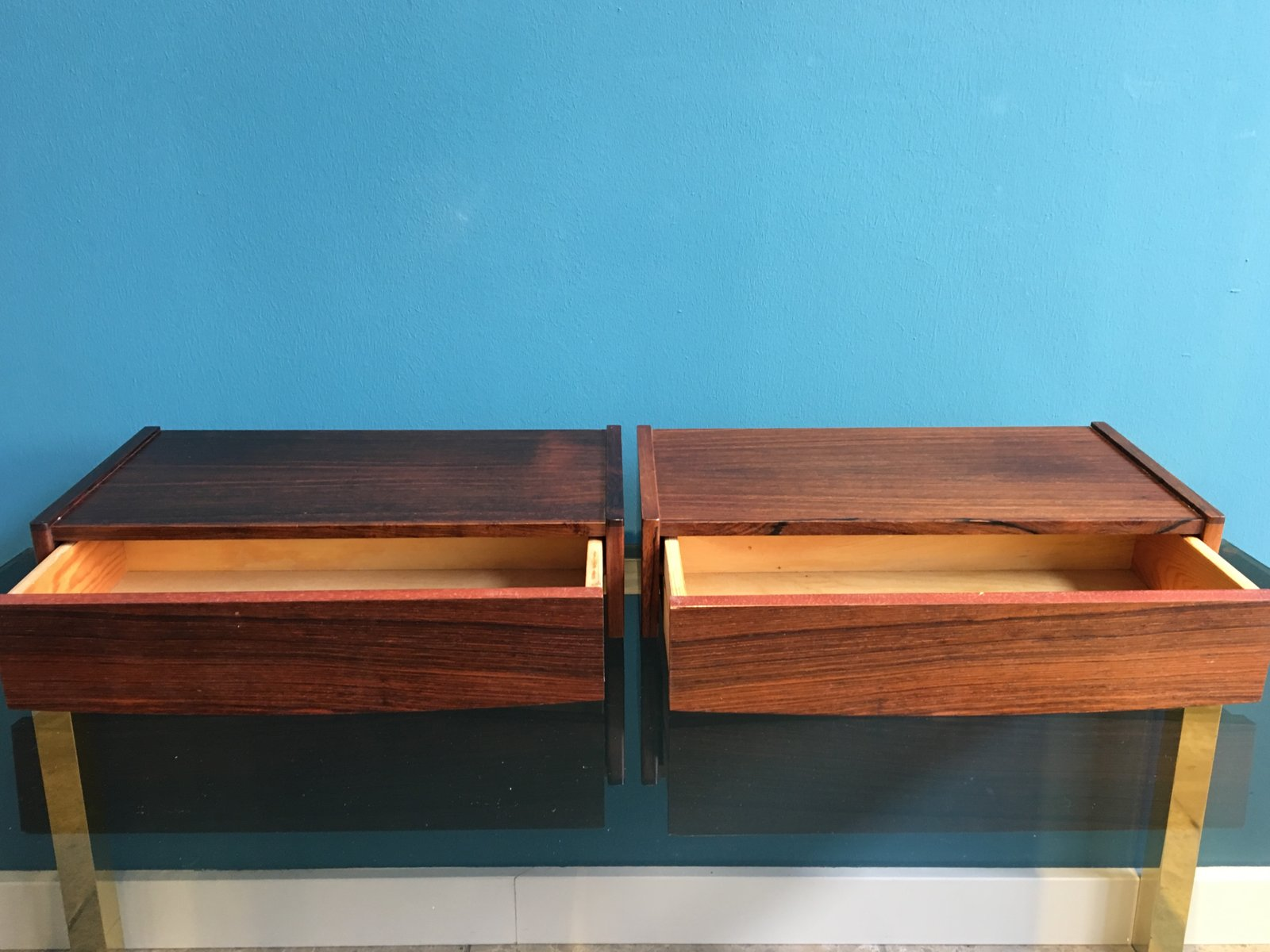Danish Mid Century Rosewood Floating Night Stands 1960s Set of 2