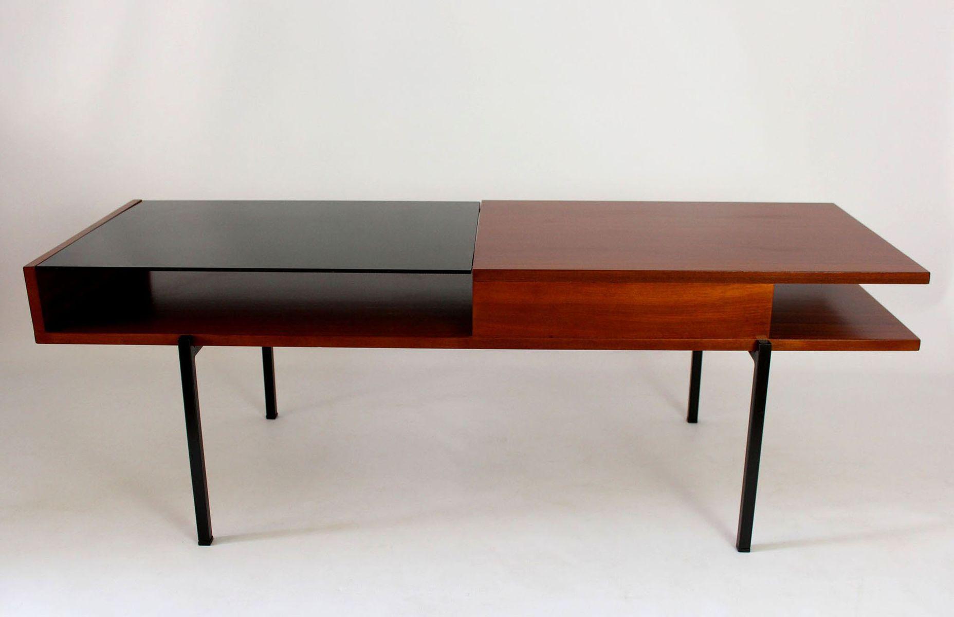 table basse en acajou avec verre noir 1970s en vente sur pamono. Black Bedroom Furniture Sets. Home Design Ideas