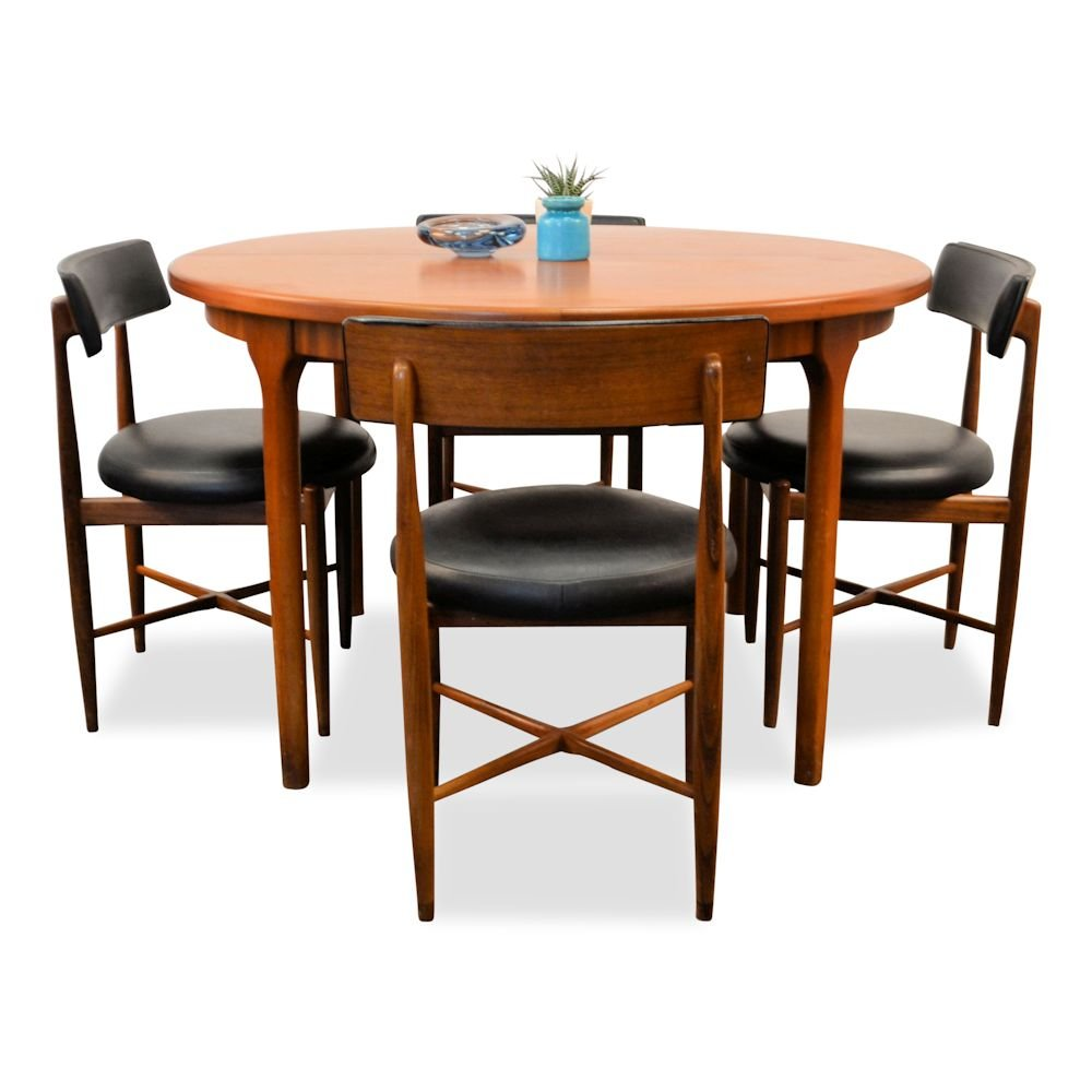 Vintage dining set in teak by victor wilkins for g plan for G plan teak dining room chairs