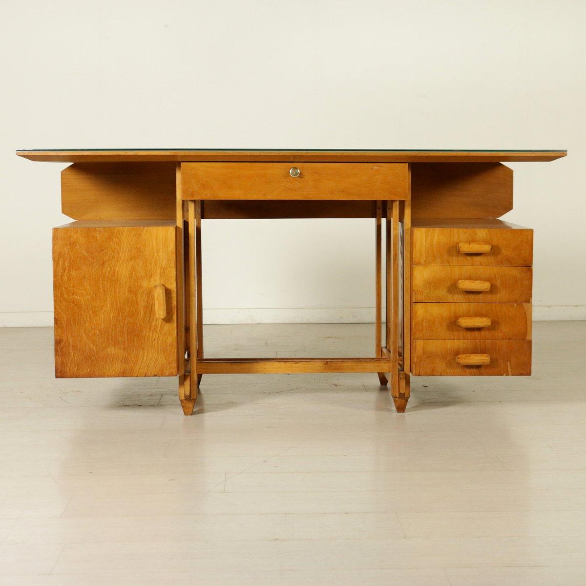 bureau en contreplaqu de bouleau avec plateau en verre. Black Bedroom Furniture Sets. Home Design Ideas