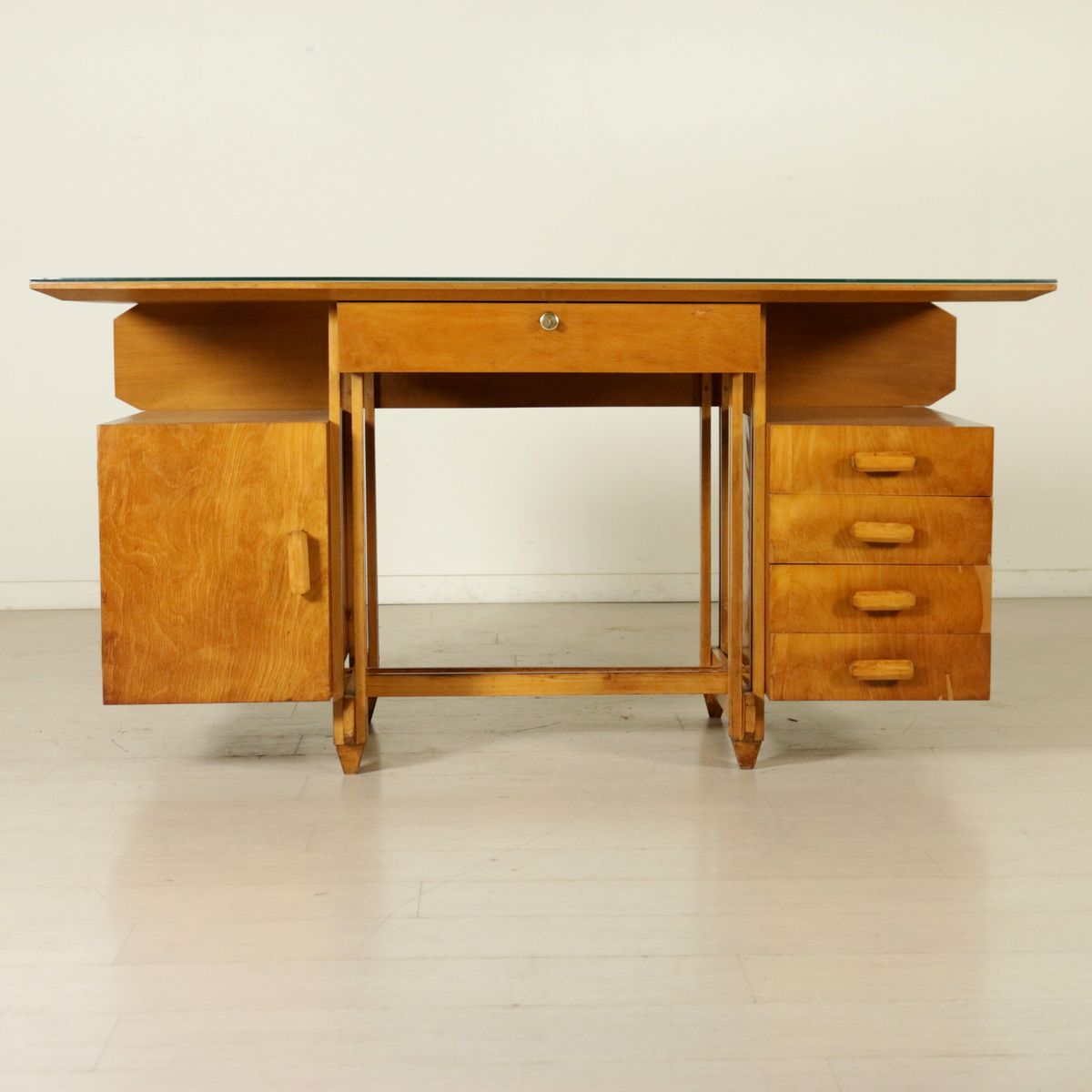 Italian Birch Plywood Desk With Glass Top 1950s For Sale