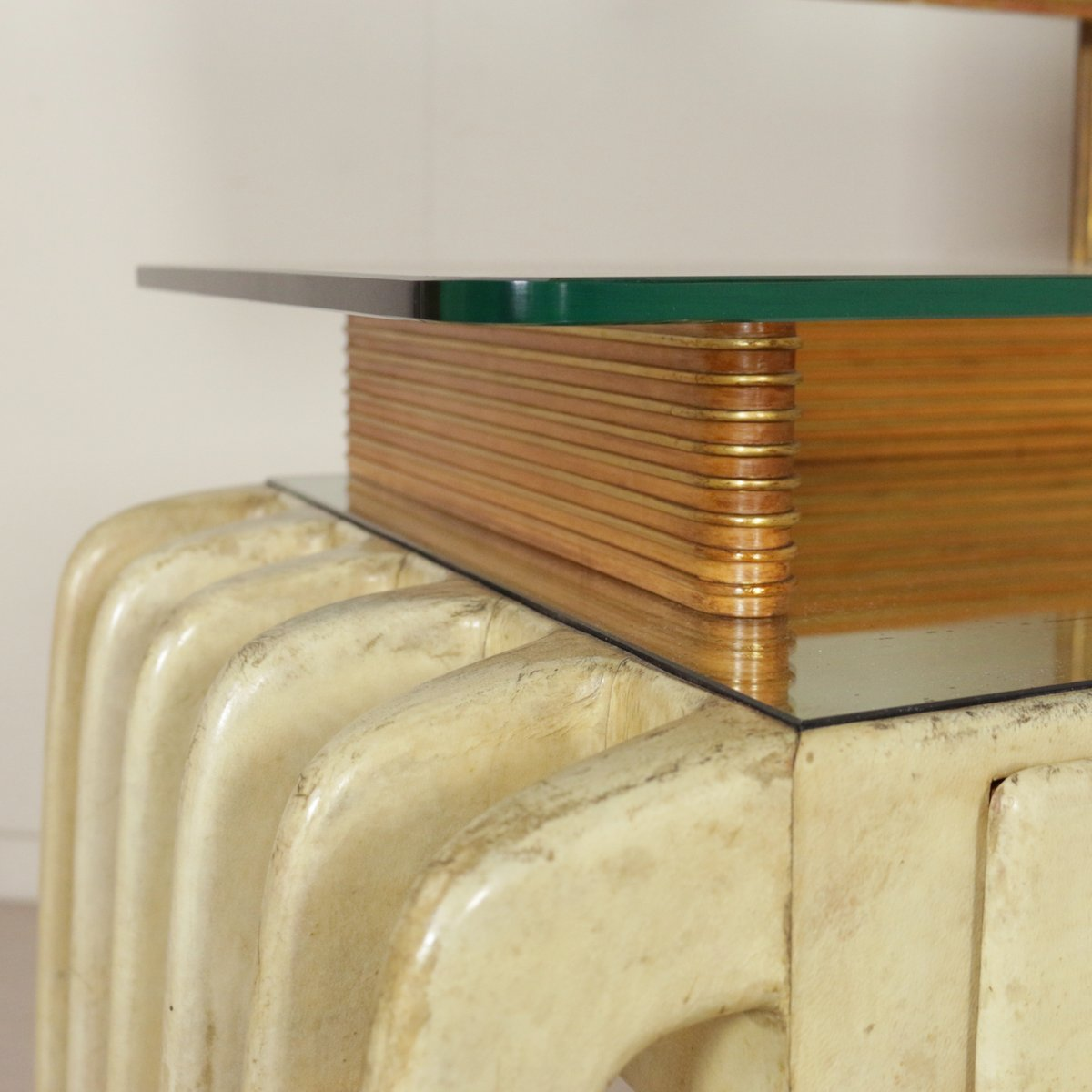 Table Dressing Wood 1950 Scarved ~ Vintage italian wood parchment and glass dressing table