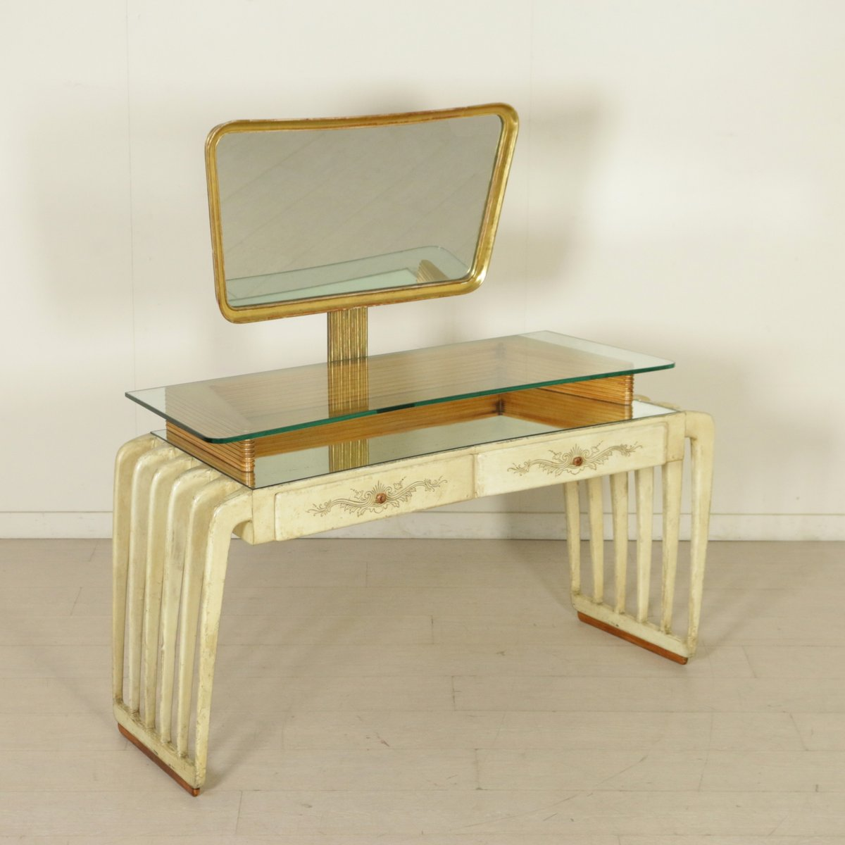 Glass dressing table - Vintage Italian Wood Parchment And Glass Dressing Table 1950s